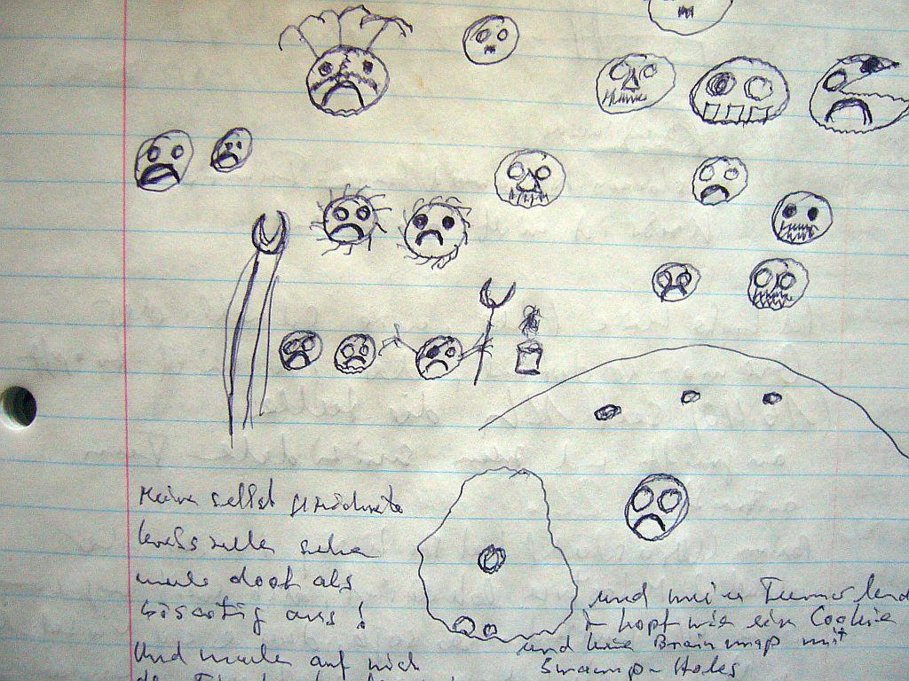 Meine selbst gezeichneten Krebszellen sehen mehr doof als bösartig aus. Meine Handschrift ist unter aller Sau, was auch am verstärkten Tremor in den Händen nach den Bestrahlungen liegen kann.